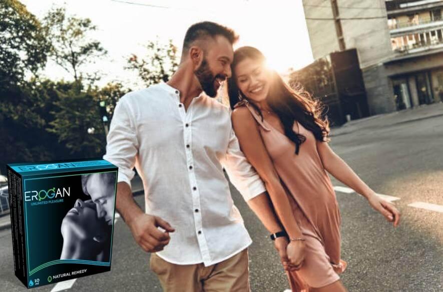erogan cápsulas, feliz hombre y mujer