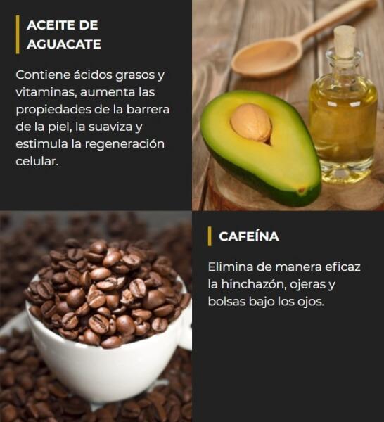 ingredientes naturales, aceite de aguacate y cafeina