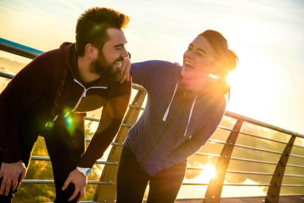 pareja, activa, correr