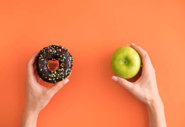 donut, manzana