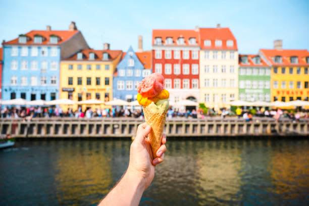 helado, ciudad, disfrutar