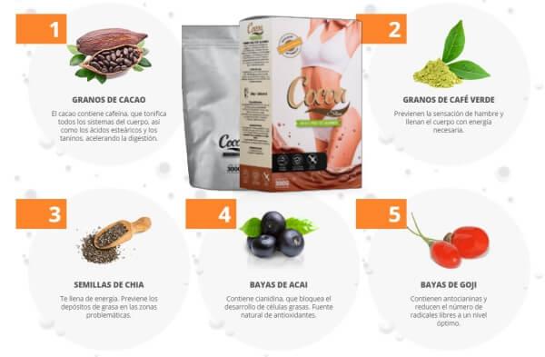 ingredientes semillas de cacao, granos de cafe verde, semillas de chia, bayas de acai, bayas de goji